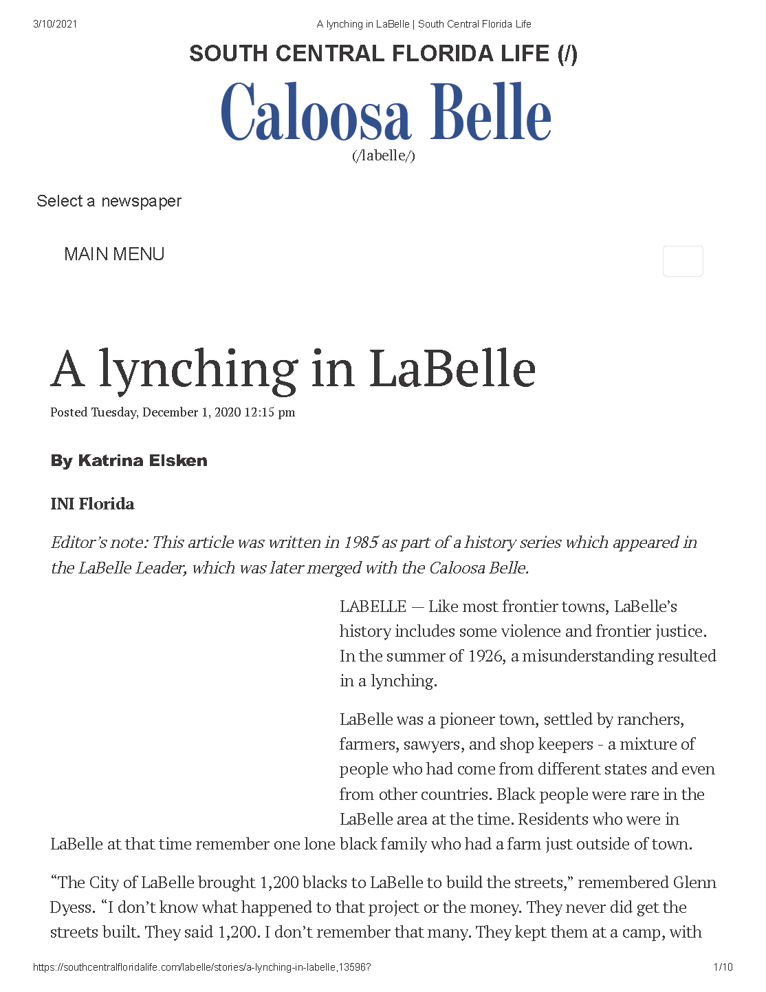 A lynching in LaBelle